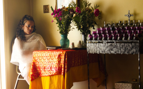 After the traditional mass Ethiopians gather to share food and drinks